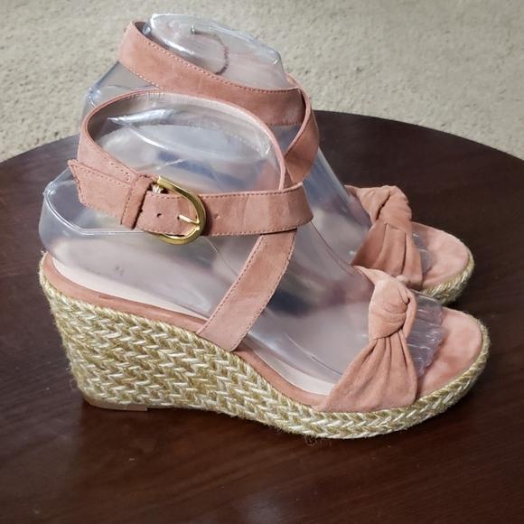 Stuart Weitzman Espadrille Sandals 6.5 Pink Suede